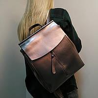 """Женский кожаный рюкзак-сумка для формата А4  серебро """"Алиса Silver"""", фото 1"""