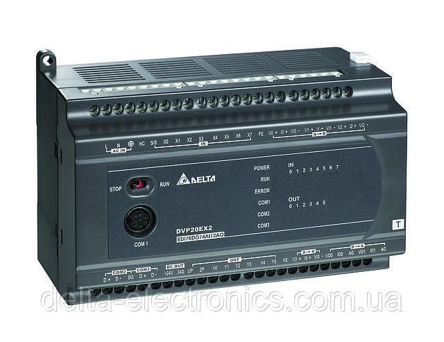 Базовый модуль контроллера серии ES2 Delta Electronics, 4AI/2AO/8DI/6DO реле, 100~240, RS232/485, DVP20EX200R
