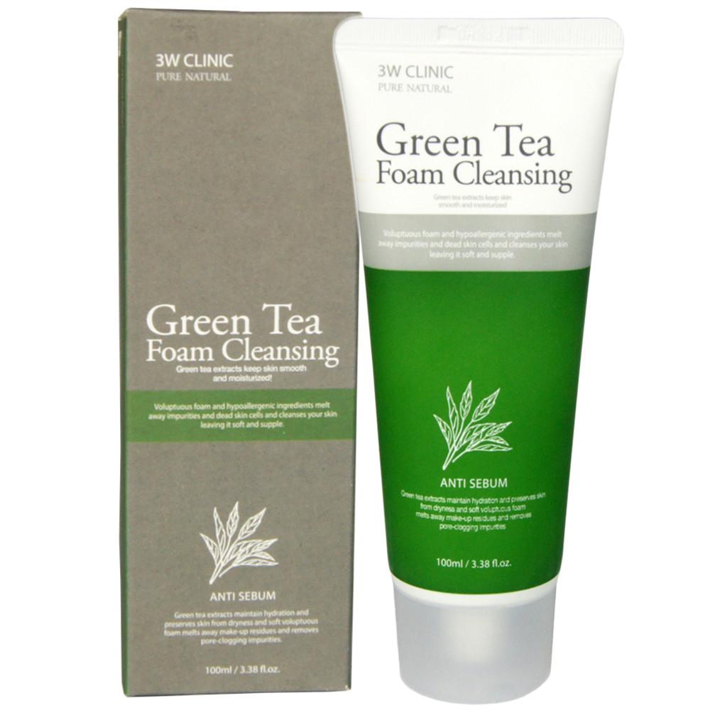 Пенка для очищения пор с зеленым чаем 3W Clinic Green Tea Foam Cleansing, 100ml