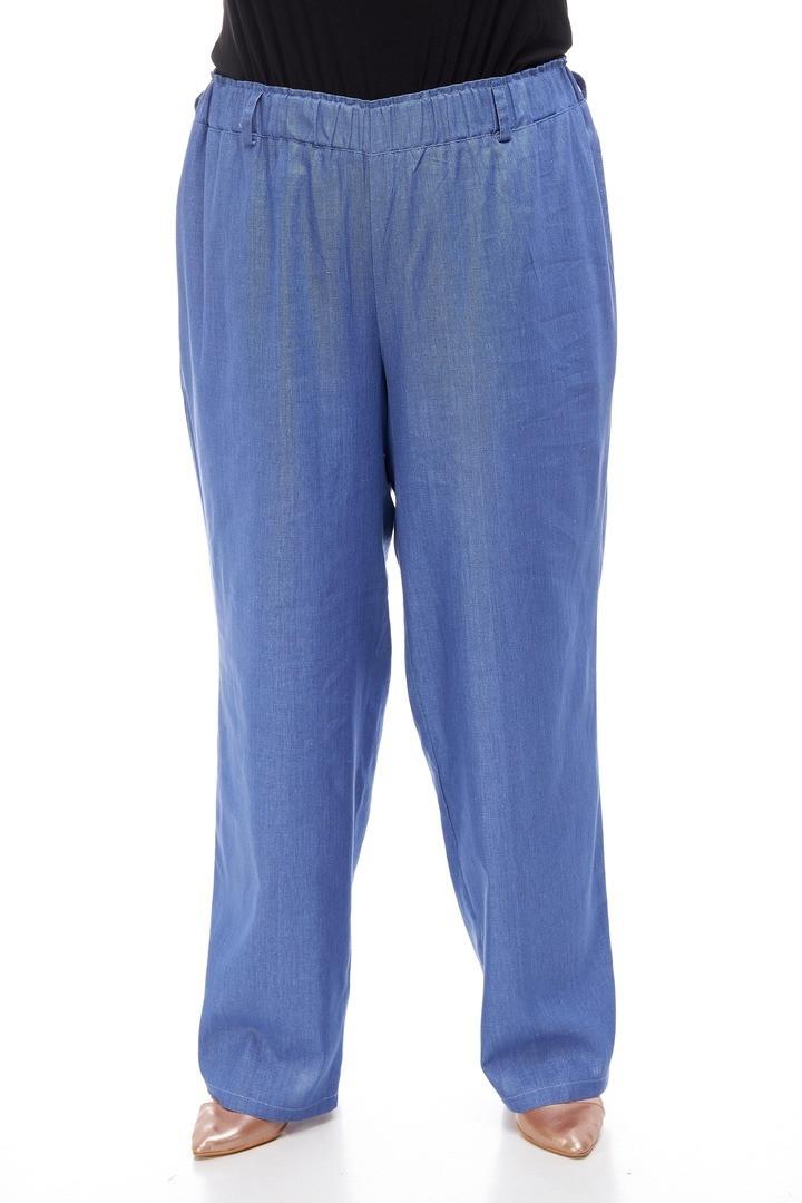 Льняные женские брюки размера плюс Брина 3 цвета (66-70)