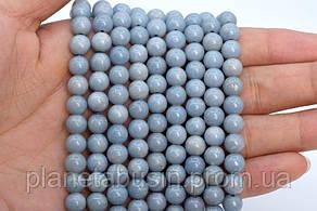 10 мм Ангелит ААА Качества , Натуральный камень, На нитях, Шар, Отверстие 1,5 мм, количество: 38-40 шт/нить, фото 2