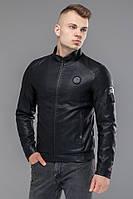 Черная мужская куртка молодежная осенне-весенняя на молнии модель Braggart Youth.