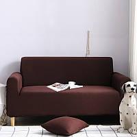 Чехол на диван универсальный для мебели цвет коричневый 90-140см Код 14-0551