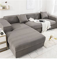 Чехол на диван универсальный для мебели цвет серый 175-230см Код 14-0573