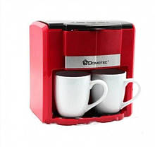 Кофеварка капельная Domotec красная в наборе с 2 чашками MS-0705