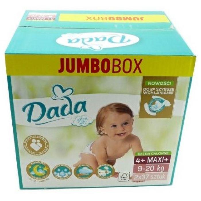 Подгузники Dada Extra Soft Jumbo Box 4+ Maxi (9-20 кг), 74 шт