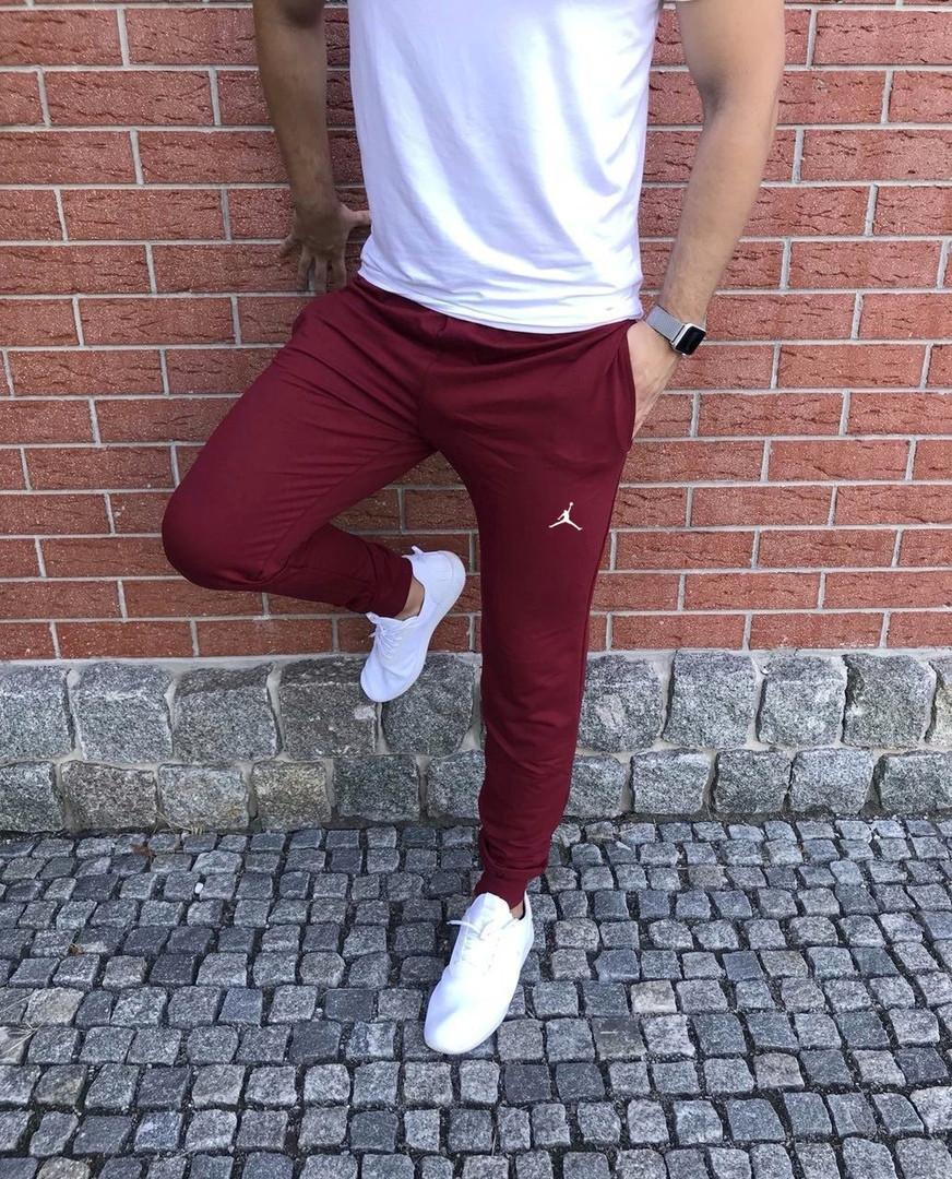 Хлопковые мужские весенние штаны с манжетами Jordan бордовые (реплика)