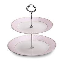 Конфетница 2-х ярусная Розовая нежность (21 см + 26 см) 30090-135
