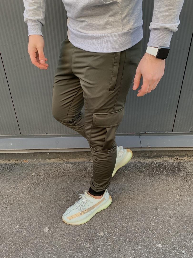 Стильные мужские весенние штаны карго с накладными карманами цвет хаки - S
