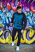 """Стильная мужская весенняя куртка Soft Shell """"Валерийская сталь"""" черная с синим, фото 1"""