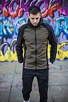 """Теплая мужская демисезонная куртка-ветровка Soft Shell """"Валерийская сталь"""" хаки с черным - S"""