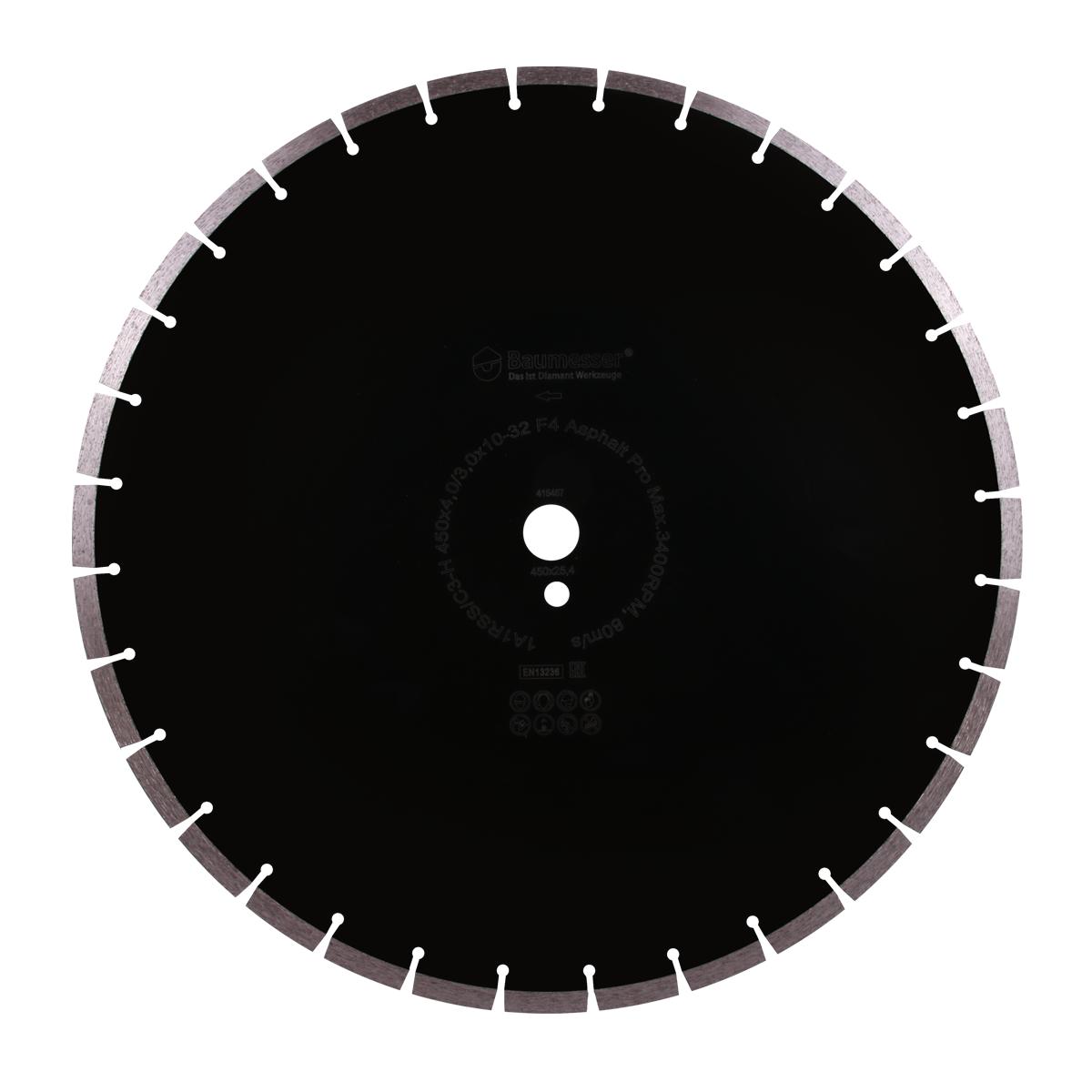 Круг алмазний відрізний 1A1RSS / C3-H 450x4,0 / 3,0x10x25,4-32 F4 Baumesser Asphalt Pro