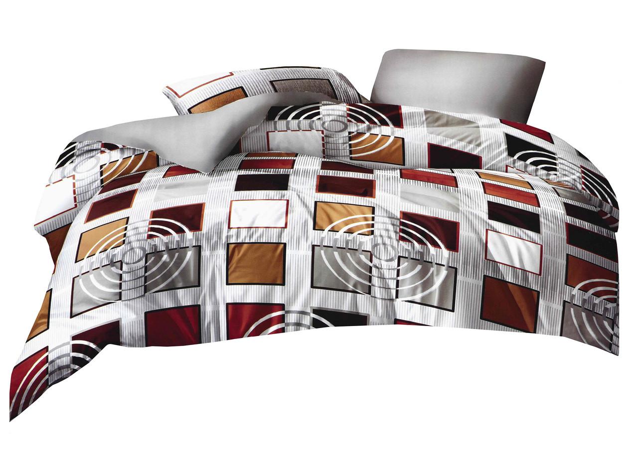 Комплект постельного белья Микроволокно HXDD-828 M&M 8417 Серый, Коричневый, Бежевый