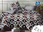 Комплект постельного белья Микроволокно HXDD-817 M&M 8448 Серый, Коричневый, Белый, фото 2