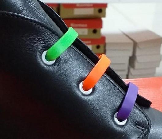 Шнурки силіконові для взуття різнокольорові еластичні високу якість 12 шт. комплект