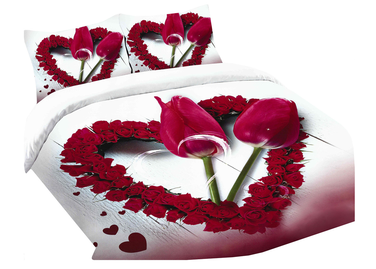 Комплект постельного белья Микроволокно HXDD-799 M&M 8486 Белый, Красный