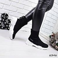 Кроссовки женские Bebs черные 6346, спортивная обувь