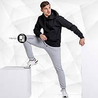 Мужской утепленный спортивный костюм черная худи + серые штаны