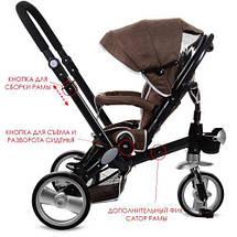 Дитячий триколісний велосипед з ручкою M AL3645A-13 шоколад коляска, фото 3