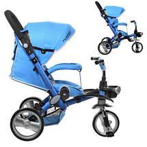 Велосипед колясочний дитячий триколісний Turbo Trike M AL3645-12 синій, фото 3