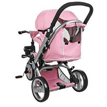 Функціональний дитячий велосипед 3-х колісний Turbo Trike M AL3645-10 рожевий, фото 3