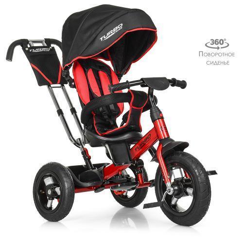 Велосипед колясочный Turbo Trike M 4059-3 красно-черный поворотное сиденье