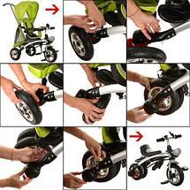 Детский велосипед трансформер беговел M 3212A-3 трехколесный зеленый, фото 3