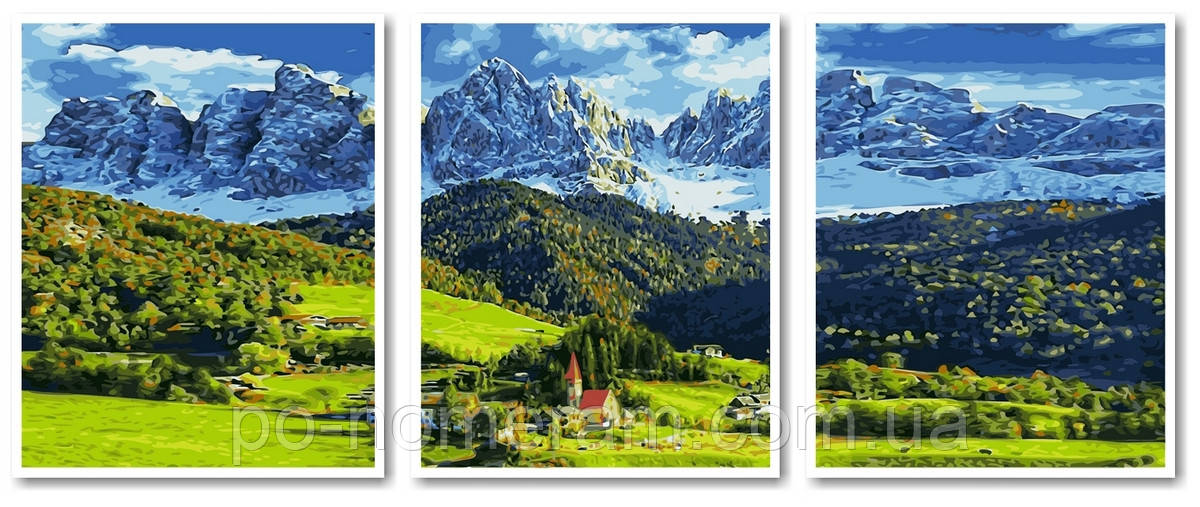 Раскраска для взрослых Триптих Альпы (VPT040) 50 х 120 см ...