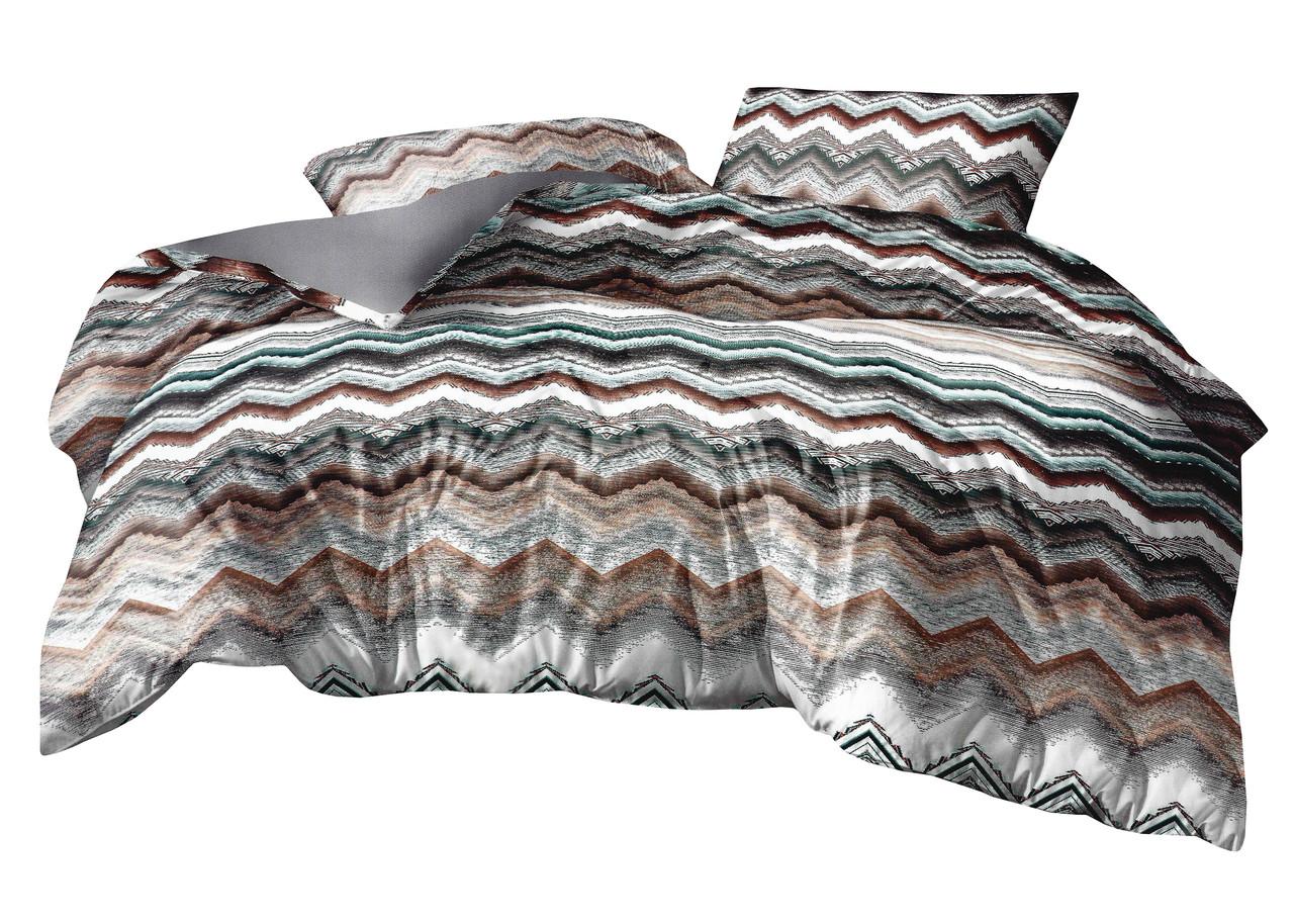 Комплект постельного белья Микроволокно HXDD-834 M&M 9223 Коричневый, Серый, Белый