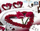 Комплект постельного белья Микроволокно HXDD-799 M&M 9230 Белый, Красный, фото 2