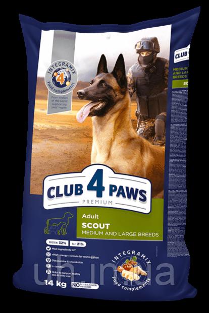 Клуб 4 лапы сухой корм Premium Scout для собак крупных и средних пород 14КГ