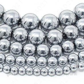 8 мм Гематит, CN354, Натуральный камень, бусины, Форма: Шар, Отверстие: 1 мм, кол-во: 54-55 шт/нить, фото 2