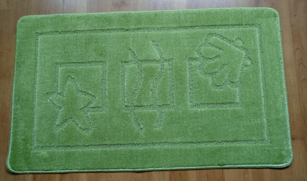 Набор ковриков для ванной, 60х100 + 60х50см.  зеленый светлый