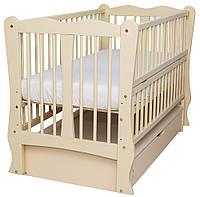 Детска Кровать Babyroom Хвилька маятник, ящик, откидной бок DHMYO-11 бук слоновая кость