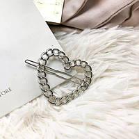 Металева шпилька у формі серця (у золоті і сріблі)