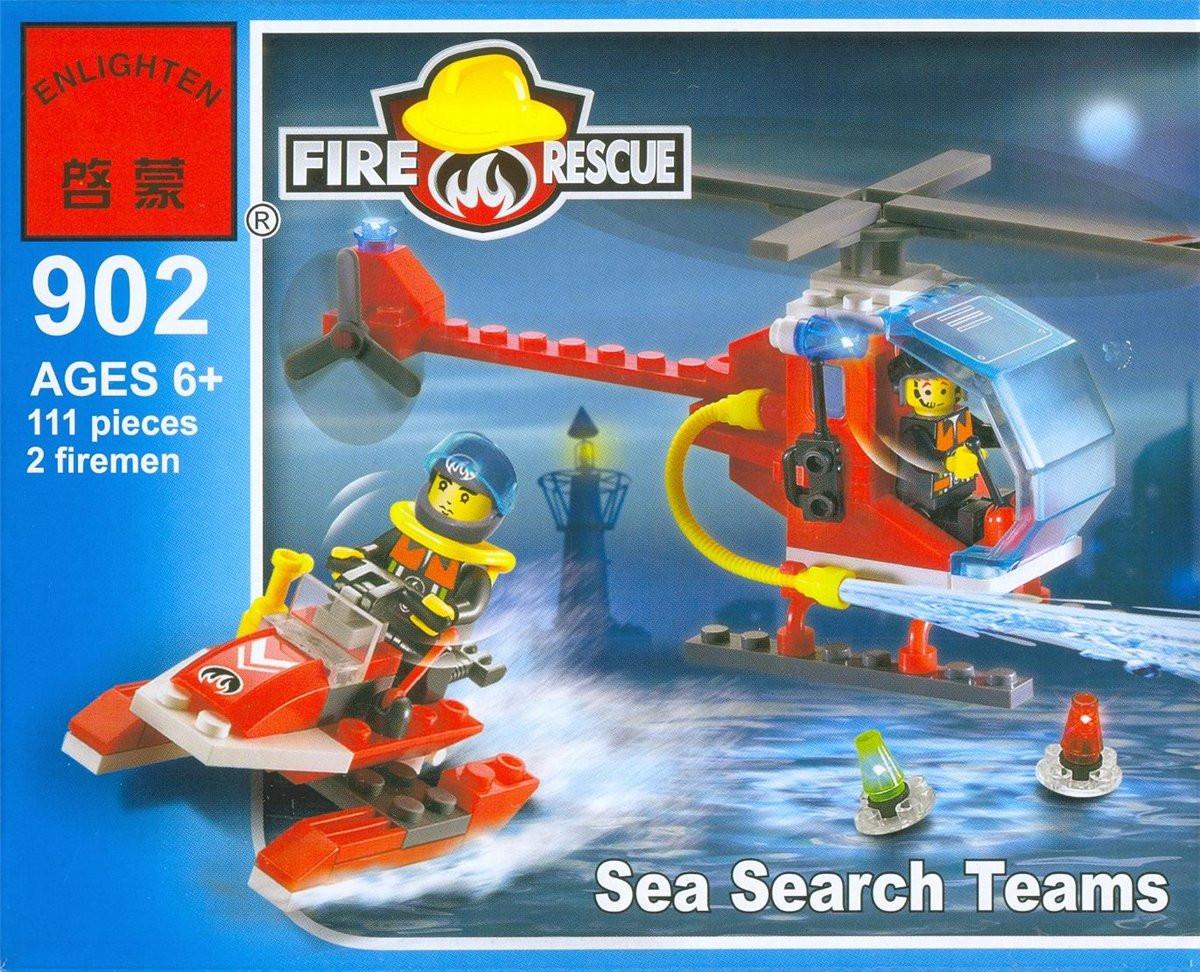 Конструктор Brick 902 Пожарный вертолет и катер, 111 деталей