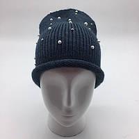 Женская шапка с жемчужинами Джинс