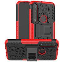 Чехол Armored для Motorola Moto G8 Plus (XT2019) противоударный бампер с подставкой красный