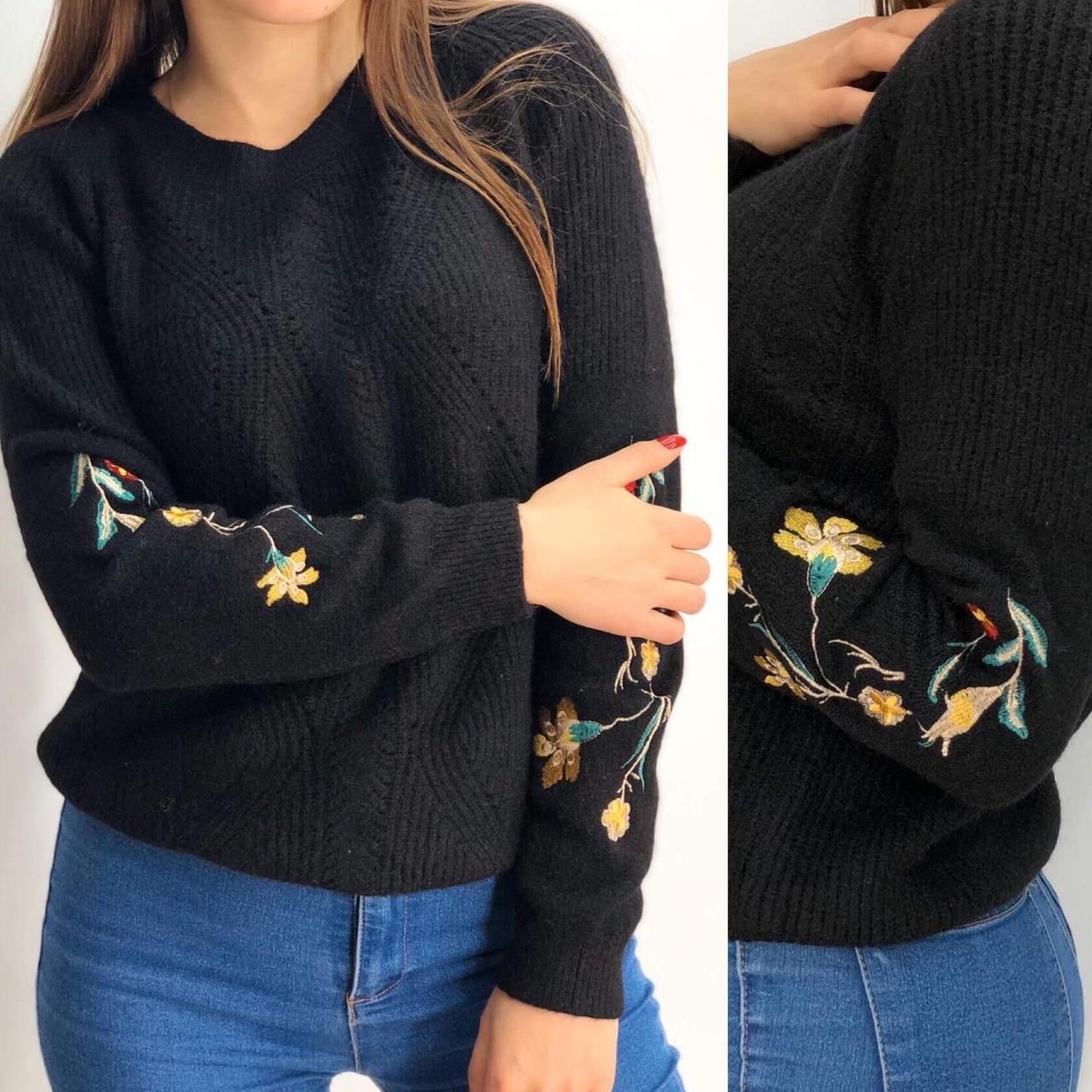 """Трендовый женский свитер с орнаментом-вышивкой """"Вязаный"""" 48 размер"""