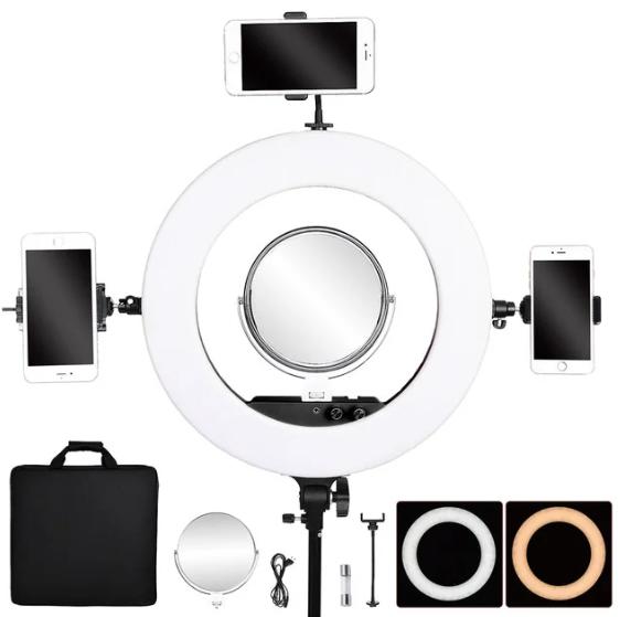 Профессиональная кольцевая лампа MakeUp FT-R480 с штатив-треногой для косметологии (Черная)