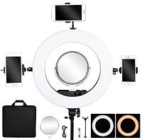 Профессиональная кольцевая лампа MakeUp FT-R480 с штатив-треногой для косметологии (Черная), фото 1