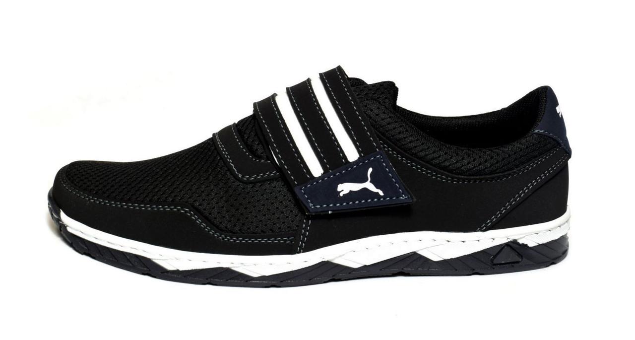 Кросівки кеди чоловічі на липучці чорні 43 розмір
