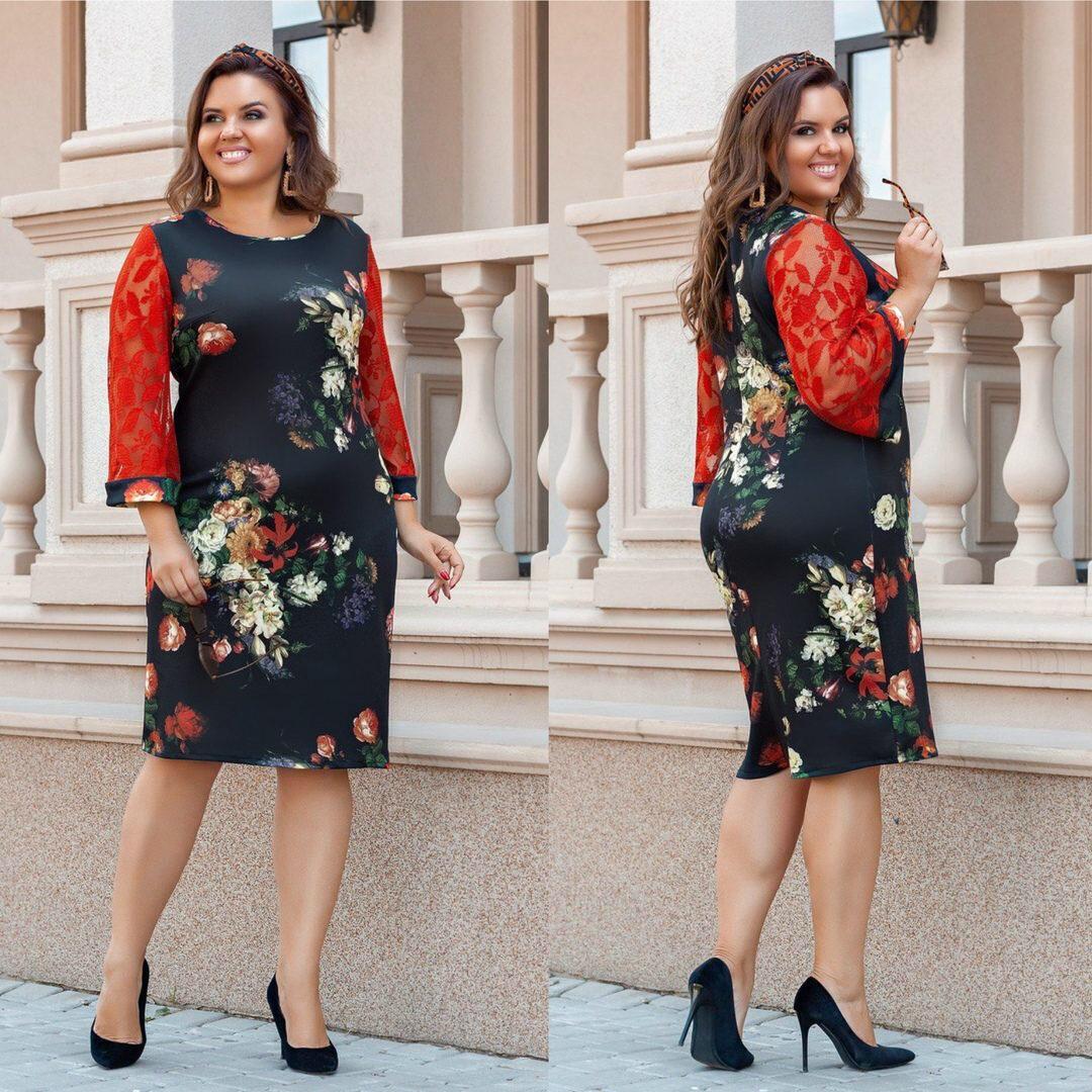 """Стильное женское платье с цветочным принтом ткань """"Дайвинг"""" 50, 52, 54, 56 размер батал"""