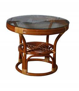 Круглый журнальный стол 0511 натуральный ротанг + стекло D70*58 см