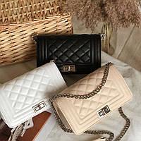 Женская сумка стеганная белая