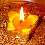 Восковая чайная свеча Бабочка (мотылек) в пластиковом прозрачном контейнере; натурального пчелиный воск, фото 8
