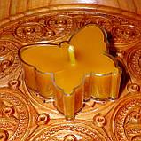 Восковая чайная свеча Бабочка (мотылек) в пластиковом прозрачном контейнере; натурального пчелиный воск, фото 2