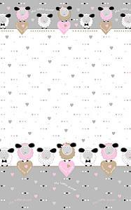 Ткань хлопковая польская, Купон овечки с сердцами