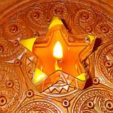 Восковая чайная свеча Звезда 26г в пластиковом прозрачном контейнере; натурального пчелиный воск, фото 10
