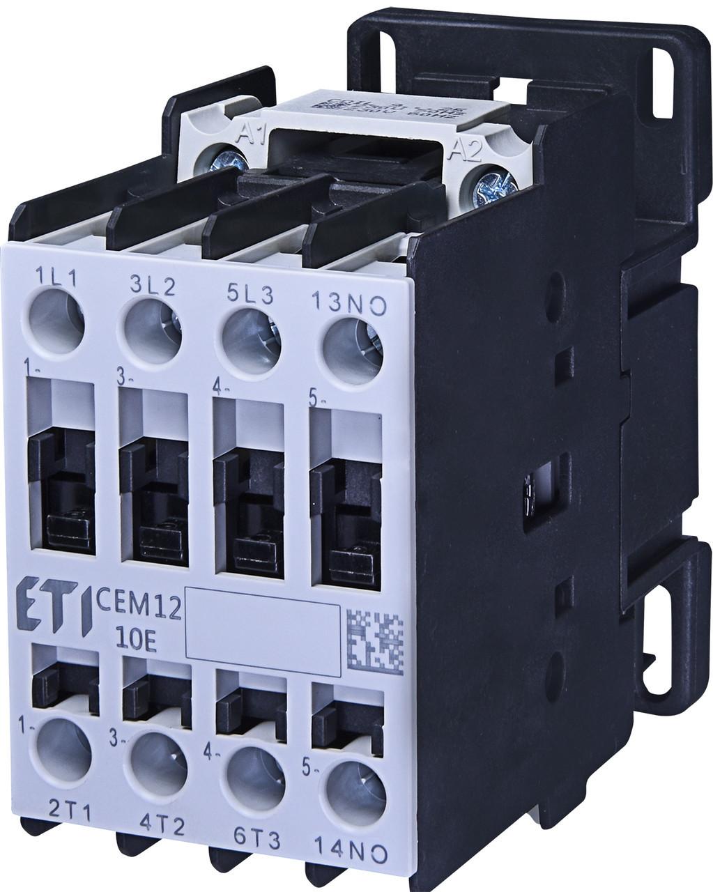Контактор силовой ETI CEM 12.10 12А 230V AC 3NO+1NO 5.5kW 4643123 (на DIN-рейку, 25A AC1, 12A AC3)